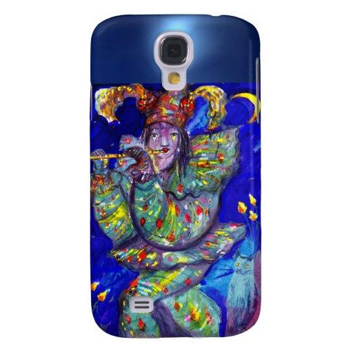 FLAUTISTA EN noche AZUL/veneciana del carnaval Carcasa Para Galaxy S4