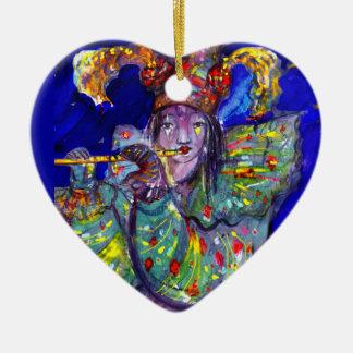 FLAUTISTA EN noche AZUL/veneciana del carnaval Ornamentos De Reyes
