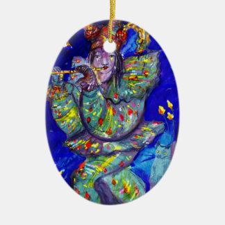 FLAUTISTA EN noche AZUL/veneciana del carnaval Ornaments Para Arbol De Navidad