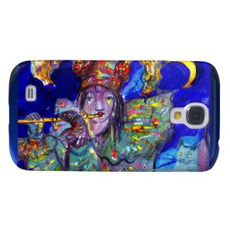 FLAUTISTA EN noche AZUL/veneciana del carnaval Funda Para Galaxy S4