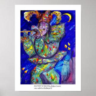 FLAUTISTA EN noche AZUL/veneciana del carnaval Impresiones