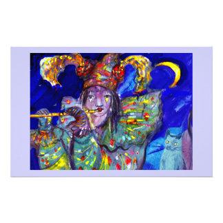FLAUTISTA EN noche AZUL/veneciana del carnaval Papelería Personalizada