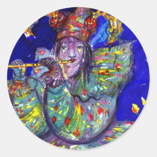 FLAUTISTA EN noche AZUL/veneciana del carnaval Pegatinas Redondas