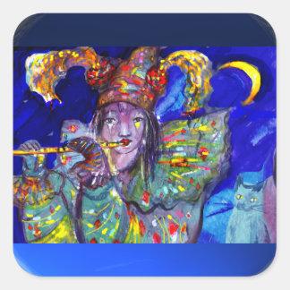 FLAUTISTA EN noche AZUL/veneciana del carnaval Pegatina Cuadrada