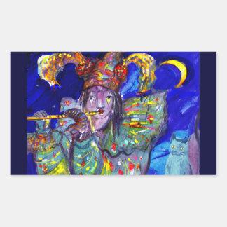 FLAUTISTA EN noche AZUL/veneciana del carnaval Pegatina Rectangular