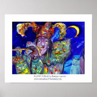 FLAUTISTA EN noche AZUL/veneciana del carnaval Póster