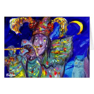 FLAUTISTA EN noche AZUL/veneciana del carnaval Felicitacion