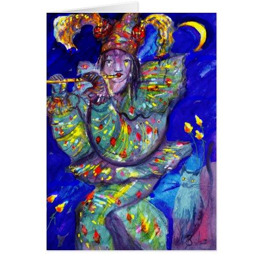 FLAUTISTA EN noche AZUL/veneciana del carnaval Tarjeta De Felicitación