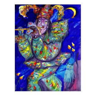 FLAUTISTA EN noche AZUL/veneciana del carnaval Tarjetas Postales