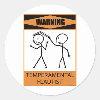 Flautista temperamental amonestador pegatina redonda