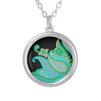 Flawer Image Round Pendant Necklace
