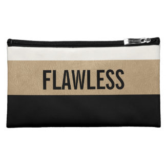 Flawless inspirational Monogram black white gold Cosmetic Bag