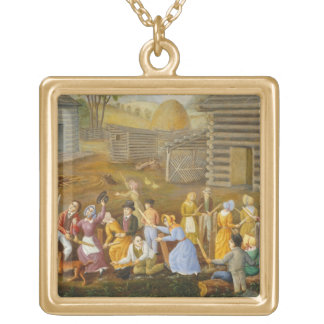 Flax Scutching Bee, 1885 (oil on bed ticking) Square Pendant Necklace