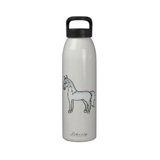 Fleabitten Grey Cartoon Horse Reusable Water Bottle