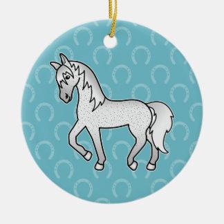Fleabitten Grey Trotting Cartoon Horse Ceramic Ornament