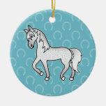 Fleabitten Grey Trotting Cartoon Horse Christmas Tree Ornament