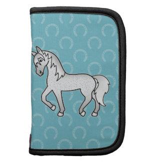 Fleabitten Grey Trotting Cartoon Horse Folio Planners