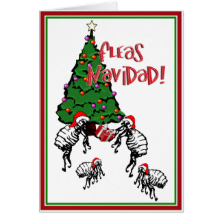 FLEAS NAVIDAD - Christmas Fleas and Christmas Tree Greeting Cards
