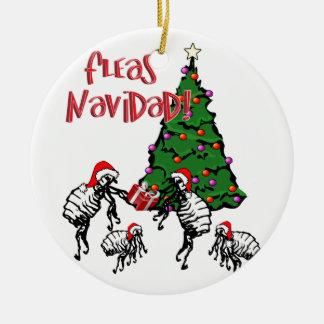 FLEAS NAVIDAD - Christmas Fleas and Christmas Tree Double-Sided Ceramic Round Christmas Ornament