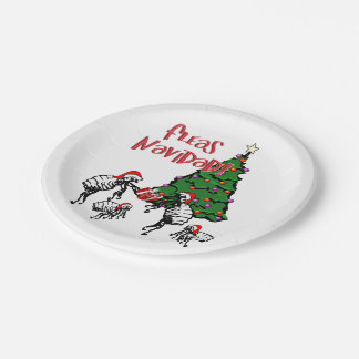 FLEAS NAVIDAD - Christmas Fleas and Christmas Tree 7 Inch Paper Plate