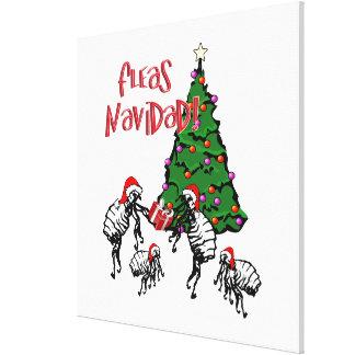 Fleas Navidad - Christmas Fleas and Tree Gallery Wrapped Canvas