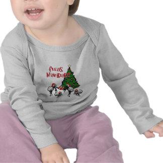 Fleas Navidad - Christmas Fleas and Tree T-shirts
