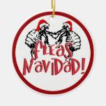 Fleas Navidad - Dancing Christmas Fleas Double-Sided Ceramic Round Christmas Ornament