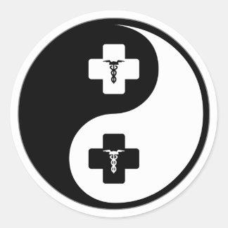 Flebotomía de Yin Yang Pegatinas Redondas