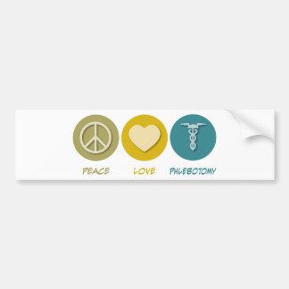 Flebotomía del amor de la paz etiqueta de parachoque