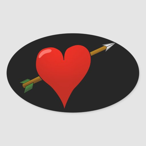Flecha a través del corazón - R Colcomanias Oval