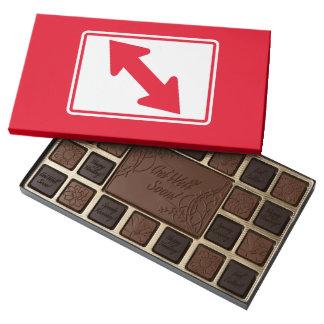 Flecha bidireccional (1), señal de tráfico, los caja de bombones variados con 45 piezas