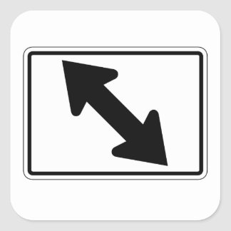 Flecha bidireccional (1), señal de tráfico, los pegatina cuadrada