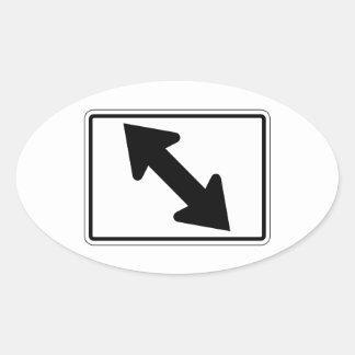 Flecha bidireccional (1), señal de tráfico, los pegatina ovalada