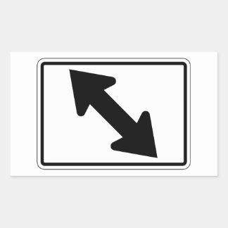 Flecha bidireccional (1), señal de tráfico, los pegatina rectangular