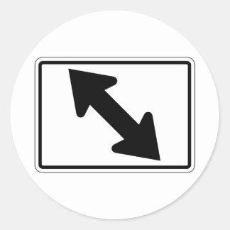 Flecha bidireccional (1), señal de tráfico, los pegatina redonda