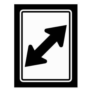 Flecha bidireccional (1), señal de tráfico, los tarjeta postal