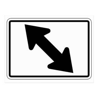 Flecha bidireccional (1), señal de tráfico, los tarjetas postales