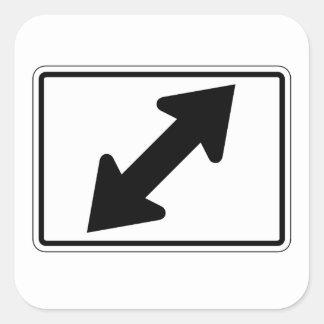 Flecha bidireccional (2), señal de tráfico, los pegatina cuadrada