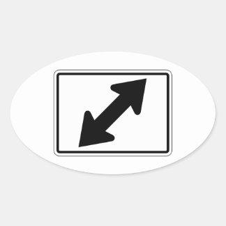 Flecha bidireccional (2), señal de tráfico, los pegatina ovalada