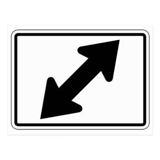 Flecha bidireccional (2), señal de tráfico, los tarjeta postal