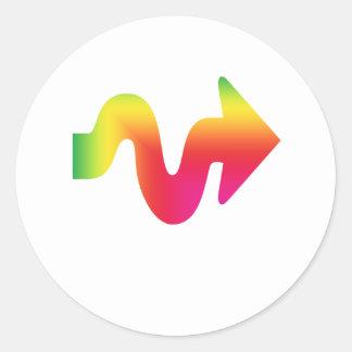 Flecha coloreada LGBT que señala a la derecha Pegatina Redonda