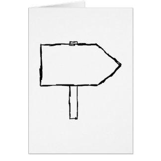 Flecha del poste indicador. Blanco y negro. Tarjeta De Felicitación