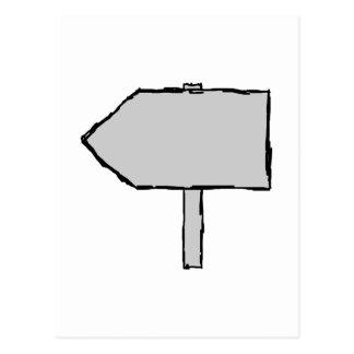 Flecha del poste indicador. Gris, blanco y negro. Tarjetas Postales