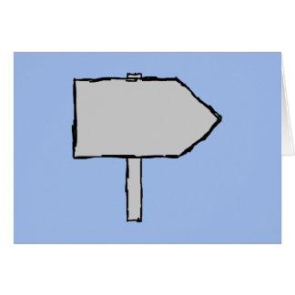 Flecha del poste indicador. Gris, negro y azul Tarjeta Pequeña