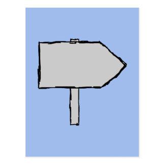 Flecha del poste indicador. Gris, negro y azul Tarjetas Postales