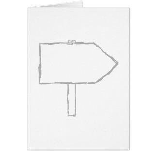 Flecha del poste indicador. Gris y blanco Tarjeta Pequeña