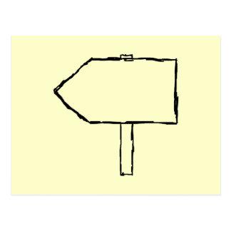 Flecha del poste indicador. Negro y crema Tarjetas Postales