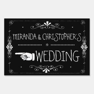 Flecha izquierda el   de la muestra del boda de la cartel