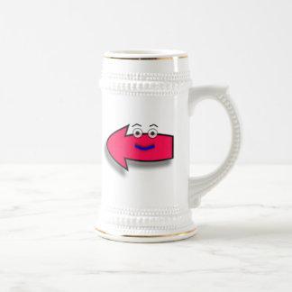 Flecha izquierda sonriente rosada jarra de cerveza