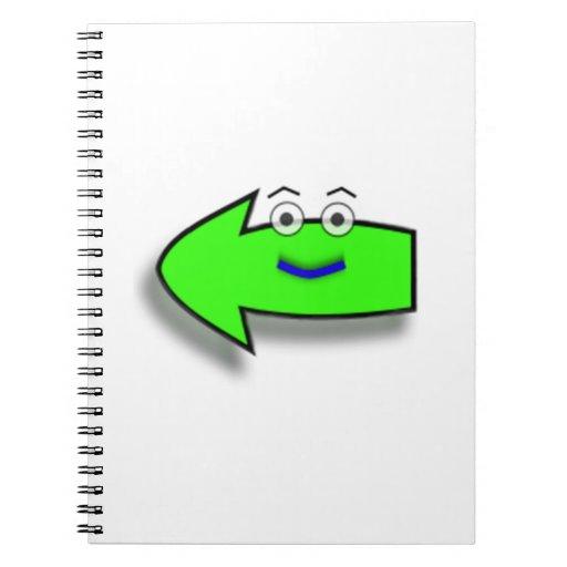 Flecha izquierda sonriente verde libreta